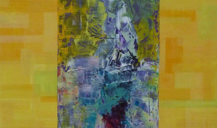 Portrait gelb, 50 x 70 cm, Öl auf BW, 2014