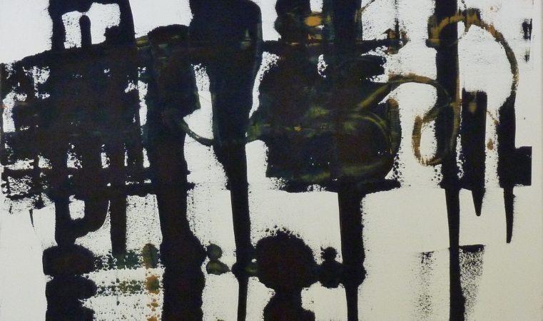 en avant la musique I, 120 x 100 cm, Öl auf BW, 2014
