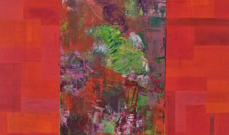Portrait rot, 50 x 70 cm, Öl auf BW, 2014