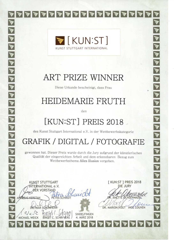Die Urkunde vom Kunstpreis 2018